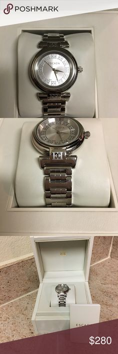 Authentic Escada Swiss Quartz Watch Authentic Escada Swiss Quartz Silver Watch. Worn several times. In prestige condition. This watch is operational. No Trading. This item is NOT eligible for a bundle sale. Thank you for your serious inquiries and for visiting my closet. Happy Poshing! Escada Accessories Watches