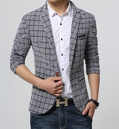 2016 New Arrival Fashion Men Plaid Blazers Single-Breasted Suit Brand Fashion Casual Slim Fit Suit Blazers Jacket (Mainland)) Blazer Outfits Men, Mens Fashion Blazer, Suit Fashion, Men Blazer, Blazer Dress, Plaid Blazer, Casual Outfits, Fashion Outfits, Blazers For Men Casual