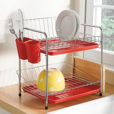 Two tier dish rack great for tiny countertops. $19.99