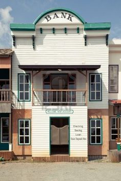 Western style Bank in an old American town Stock Photo