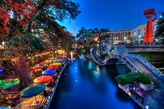 San Antonio Riverwalk, a world of its own, one level below the city streets.