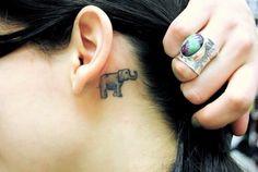 Elephant Tattoo On Ear Back Beautiful Small Tattoos, Cool Small Tattoos, Small Girl Tattoos, Trendy Tattoos, Cross Tattoo Designs, Tattoo Designs And Meanings, Small Tattoo Designs, Tattoo Designs Men, Elephant Tattoo Meaning