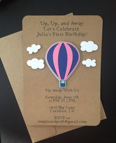 Hot Air Balloon Handmade Invitations Custom Made for Birthday Party or Baby Shower on Kraft Paper, Set of 8 Invites on Etsy, $16.00
