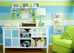 Lime, blue and yellow striped wall bedroom for kids.