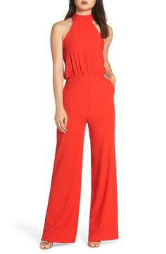 Women's Lulus Moment For Life Halter Jumpsuit, Size Large - Red Halter Jumpsuit, Red Jumpsuit, Jumpsuit Outfit, Jumper Outfit, Striped Midi Dress, Lace Sheath Dress, Jumpsuits For Women, Clothes For Women, Nordstrom