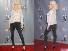 A skinny-mini Christina rocks the carpet for The Voice.