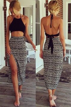 Stylish Sexy Women's Two Pieces Sleeveless Dress Set Halter Backless Crop Tops And Long Maxi Skirt
