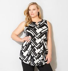 Shop classic colors with updated styles like the plus size Geo Chevron Swing Tank available online at avenue.com. Avenue Store