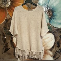 *JUST IN* NY Collection Sweater top Fringe sweater top. Arycllic metallic blend. Half sleeves. Loose fit. Scoop neck. NY Collection Tops