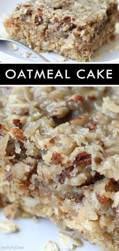 This Oatmeal Cake is a perfect dessert for any time of year. Moist and delicious, topped with coconut and a pecan streusel! This Oatmeal Cake is a perfect dessert for any time of year. Moist and delicious, topped with coconut and a pecan streusel! Dessert Parfait, Bon Dessert, Dessert For Dinner, Food Cakes, Cupcake Cakes, Snack Cakes, Cookie Cakes, Just Desserts, Delicious Desserts