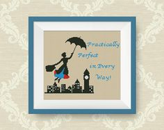 BUY 2, GET 1 FREE! Mary Poppins cross stitch pattern, Quotes cross stitch pattern, Instant Download, pdf counted cross stitch pattern, #P189