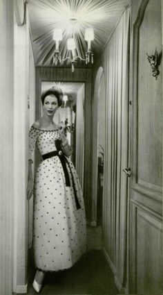 Model wearing Christian Dior, 1958.