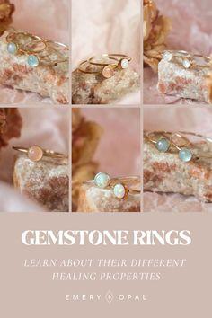 Dreamy, dainty, gemstone rings. Which gemstone would you choose? #gemstones #birthstonerings #gemstonehealing Crystal Bracelets, Crystal Jewelry, Birthstone Necklace, Crystal Healing, Birthstones, Opal, Gemstone Rings, Wedding Rings, Engagement Rings