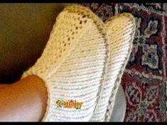 Botinha em tricô para adultos feita com duas agulhas e costura somente no calcanhar - YouTube