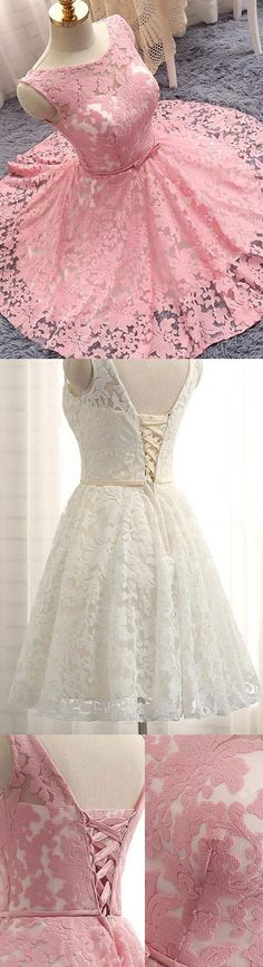 Homecoming Dresses Cheap, Pink Homecoming Dresses, Short Homecoming Dresses, Lace Homecoming Dresses, Cheap Homecoming Dresses, Cheap Short Homecoming Dresses, Cheap Dresses Online, Pink Lace dresses, A-line/Princess Homecoming Dresses, Short Pink Homecoming Dresses With Bandage Knee-length Bateau Sale Online