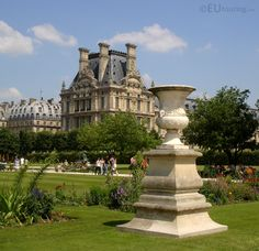 In this photo you can see one of the many statues that can be found in the Tuilleries Gardens, with the famous Louvre Museum being seen in the background past the trees.  See more www.eutouring.com