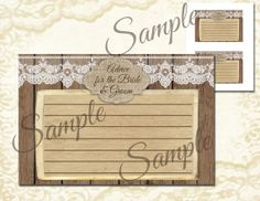 Instant Download, Rustic, Wedding, Burlap and lace, Advice for the Bride and Groom, Card, Digital File on Etsy, $5.00