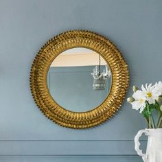 Transform bare walls with our elegant Large Gold Feather Metal Mirror. Featuring a circular mirror surrounded by four layers of rustic gold iron feathers, this piece will add a touch of luxury to your home. Circular Mirror, Metal Mirror, Mirror Mirror, Large Feathers, Gold Feathers, Relaxation Room, Relaxing Room, Mirror Shop, Round Mirrors