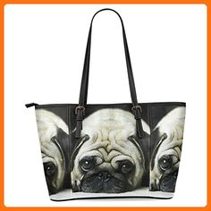 InterestPrint Pug Puppy Dog Women's Leather Tote Shoulder Bags Handbags - Shoulder bags (*Amazon Partner-Link)