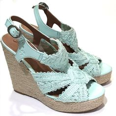 34d320b90c0 Lucky Brand Ridgeview Wedge Sandals Womens Size 7 M Blue Espadrille Open  Toe  fashion