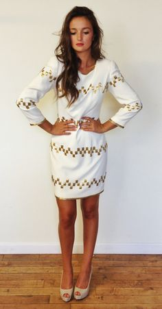White-hot vintage 1980's shift with gold art deco glass beading. Christmas Party!!