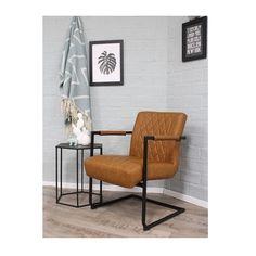 Stoere fauteuil cognac is een aanwinst op uw stijlvolle interieur. www.blockdesign.nl