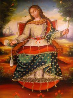 Virgen Hilandera - Escuela Cuzqueña