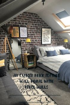 An exposed brick feature wall mural with Rebel walls