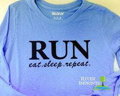 RUN Long Sleeve T-shirt, Performance Long Sleeve Ladies' Fitted or Unisex Fit T-Shirt