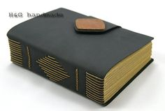 black leather journal with diamond metal clover pendant , blank paper notebook ,longstich handbound,unique gift Sketchbook / Diary
