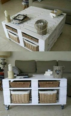 50 ideas for a coffee table with palette! - table with white pallets, classic living room -