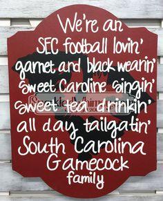 South Carolina Gamecock Family Football Sign by SparkledWhimsy
