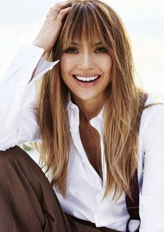 Image result for full blunt bangs and balayage