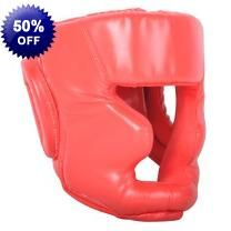Adult Size Red Boxing Head Guard Helmet - PU Leather - Thick Inside Padding - Velcro Strap At Back