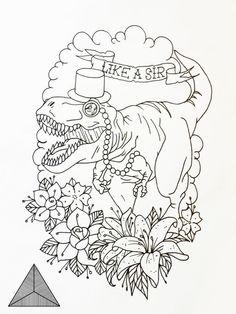 Dinosaur tattoo design by SarahAnnyMermans on DeviantArt