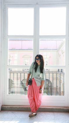 pastel dhoti pants Top : 11.11 Cell Design Dhoti Pants : Anokhi Jewellery : Random Bag : Chanel Boy Sunglasses : Ray Ban