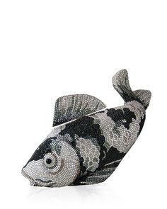 V2AM5 Judith Leiber Couture Koi Fish Crystal Minaudiere, Black/Silver