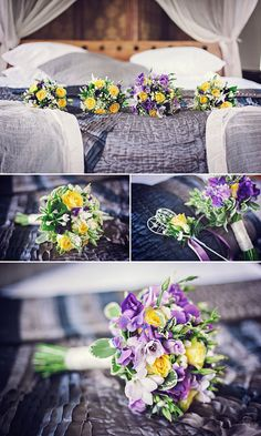 Purple and yellow wedding flowers,  Signature Flowers, Matthew Bishop Photography