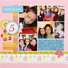 Design by Valerie Salmon Template: Quick Collage 102 How she used it: Valerie filled all but one block with different shots from her daughter's birthday party. The final horizontal block was filled with blue cardstock and journaling. Make the scrapbook page: Strips of patterned paper frame two sides of the collage. Valerie added flowers, circles, and other embellishments to capture the party atmosphere on her page.  SOURCES: Cardstock: Bazzill Basics Paper. Font: Pea Lacy off the Internet…