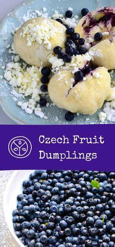 Dumpling Dough, Dumpling Filling, Dumpling Recipe, Slovak Recipes, Czech Recipes, Ethnic Recipes, Blueberry Recipes No Bake, Blueberry Dumplings, Czech Desserts