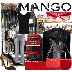 SS '12 London meets Barcelona -- Black and Red (Fashion in Motion with MANGO & Kate Moss), created by bexboyle