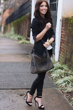 The Daybook's Sydney Poulton. Her Nasty Gal bag is equal parts tough and timeless.