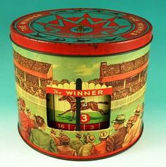 Old 1950s THE WINNER Peek Frean Horse Racing Biscuit Tin Australian Collectable