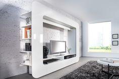 """Unsere stylische Design Medienwand """"CUBUS"""" mit klaren Linien und moderner Hochglanzfront in weiß überzeugt durch auffälliges, quadratisches Design."""