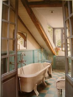 Attic Country Bathroom. Baby, I LOVE THIS SO MUCH!!!! Can we do our HOUSE like this?!?!?!