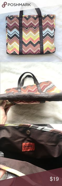 "NWOT Missoni by Target Tote This Missoni tote is new without tags and in excellent condition. It's approximately 16"" wide and 13"" tall. The trim is faux leather and the main material is 100% cotton. Reasonable offers welcome. Xoxo, J Missoni  Bags Totes"