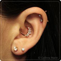 Daith   Helix   Lobe   piercing & jewlery -- BVLA, Anatometal. Piercings done by Zack at 4Forty4 Tattoo-Tucson, AZ