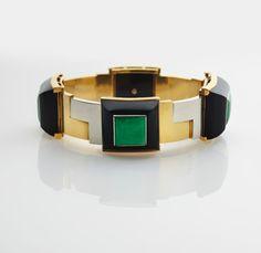 Exceptional Art Deco Onyx & Jade bracelet - Jean Fouquet