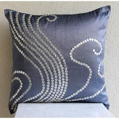 Decorative Throw Pillow Covers Accent Pillow Couch Pillow 18x18 Blue Sofa Pillows Silk Pillow Case Sequins Embroidered Home Decor Swirls __________________________________________________________________ Pillow Cover is made using a beautiful Dull- Blue color Art Silk Dupioni Fabric decorated with textured silver sequins to create a beautiful swirl.design. The back of the pillow is in the same Dull-Blue color dupioni fabric with a flap covered zipper for clean look and easy removal. ...