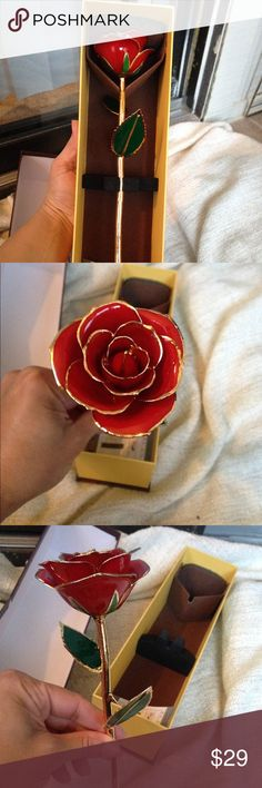 Zjchao 24K Gold Red Flower ZJchao Love Forever Long Stem 24k Gold Foil Trim Red Rose Flower 🌹 Zjchao Accessories